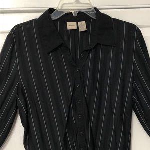 Vintage Black with White Stripe Blouse